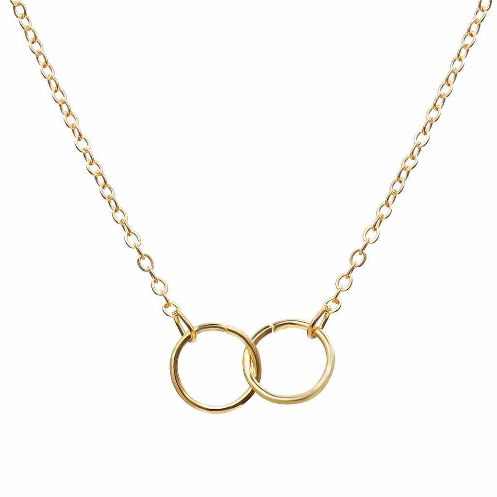 Gouden Dubbele Ring Ketting Creatieve Retro Eenvoudige Metalen Legering Sleutelbeen Ketting Mode Gepersonaliseerde Choker Ketting Voor Vrouwen
