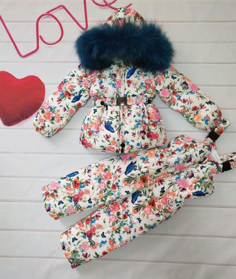 Зимняя детская теплая пуховая куртка с капюшоном, детская зимняя одежда, верхняя одежда с принтом, парка с воротником из меха енота и собаки,