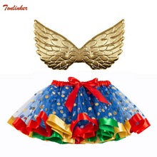 цены на New Tutu Skirt Baby Girl Skirts 2-8T Princess Mini Pettiskirt Party Dance Rainbow Tulle Skirts With Wings Girls Children Clothes  в интернет-магазинах