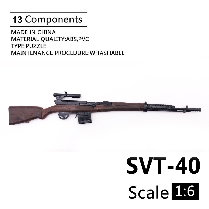 1:6 SVT-40 Rifle Gun Model Coated Plastic Military Model Accessories For 12