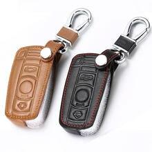 Casos chaves do carro de couro chave titular chaveiro capa para bmw e90 e60 e70 e87 3 5 6 series m3 m5 x1 x5 x6 z4 inteligente controlador remoto