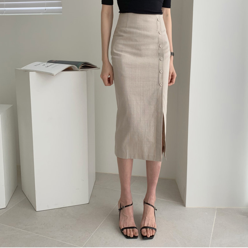 2020 Linen Midi Skirt Women High Waist Pencil Skirt Side Slit Bodycon Skirt Korean Style Lady Offcial Skirt