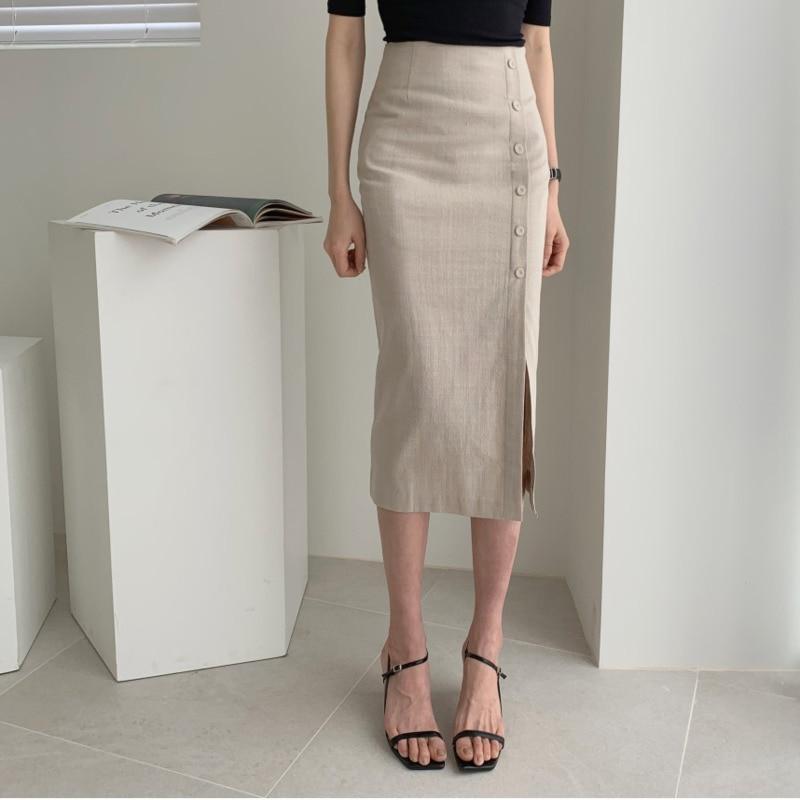 2020 Linen Midi Skirt Women High Waist Pencil Skirt Side Slit Bodycon Skirt Korean Style Lady Offcial Skirt