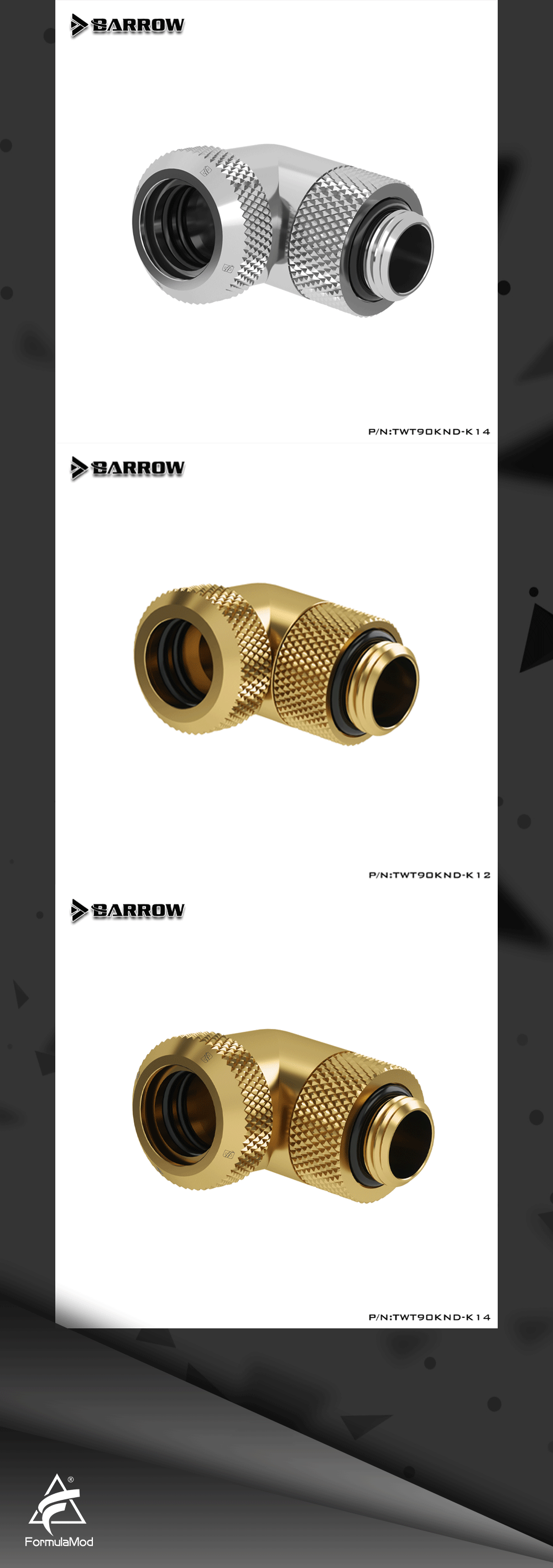 Barrow TWT90KND-K12/TWT90KND-K14, 90 Degree Rotary Hard Tube Fittings, G1/4 Adapters For OD12mm/14mm Hard Tubes