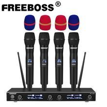 FREEBOSS – Microphone professionnel sans fil à fréquence fixe, 4 canaux, portable, karaoké, UHF