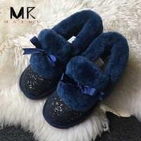 Top marke 100% Natürliche Pelz Echtem Leder Frauen Flache Schuhe Neue Mode Frauen Mokassins Casual Faulenzer Plus Größe Winter schuhe