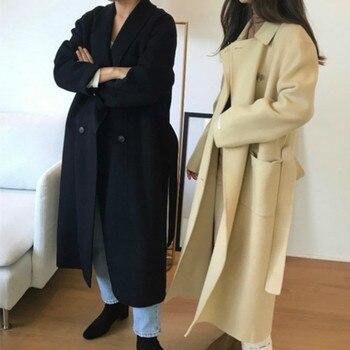 Korea Women Winter Yellow Long Cashmere Coat Slim Waist Elegant Overcoat with Waistbelt Pocket Loose Outerwear Jacket 3