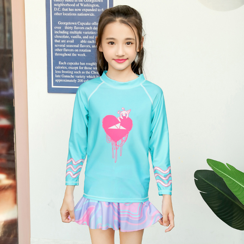 2018 New Style Sbart Casual Beach Skirt Girls CHILDREN'S Cartoon Split Type Long-sleeved Swimsuit