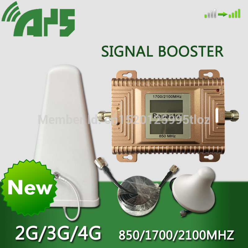 CDMA AWS <font><b>850</b></font> 1700 <font><b>2100</b></font> Tri-frequency Cell Phone Cellular Signal Amplifier 2G 3G 4G LTE Mobile Phone Signal Booster For Americas image