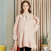2019 maternity dress autumn new fashion lapel shirt large size corduroy cardigan pregnancy shirt