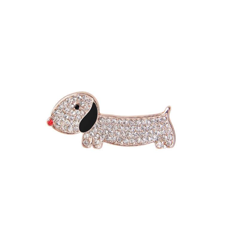 Милые изящные Милые Броши эмалированные короткие лапки такса заколки кристаллы для детей пальто или платье праздничное украшение