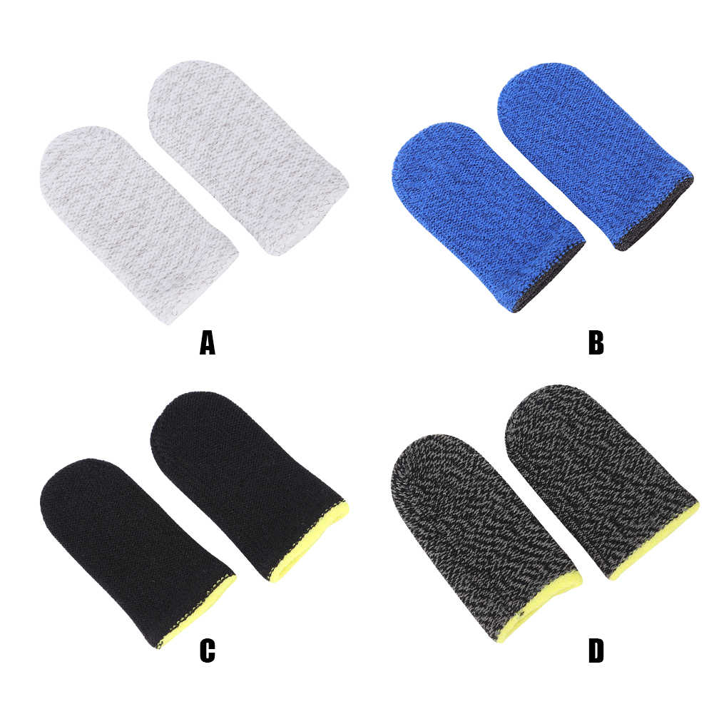 2x Breathable Mobile Finger Sleeve TouchScreen Game Controller Sweatproof Gloves for Phone Gaming -Drop