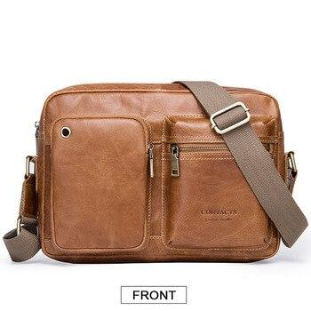 2019 Famous Brand Leather Men Shoulder Bag Casual Business Satchel Mens hjandBag Vintage Men's Crossbody Bag bolsas male