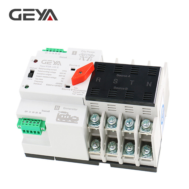 GEYA W2R Mini ATS 4P Automatic Transfer Switch Controller Electrical Type ATS Max 100A 4POLE Din Rail Electric Switch in Circuit Breakers from Home Improvement