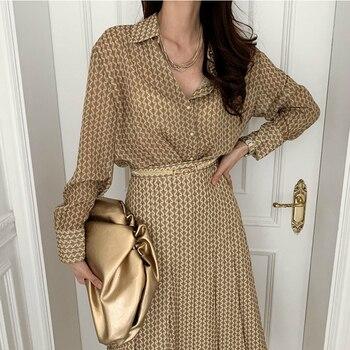 [EWQ] Korean Chic Temperament Abstract Printing Long-sleeved Shirt+high-waist Pleated Skirt With Belt 2021 Spring 2-piece Set 1