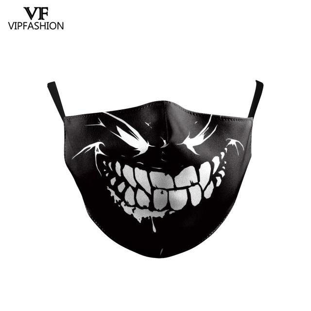 VIP FASHION Children's Mouth Mask Halloween Horror Skull Printed Anti Dust PM2.5 Double Layer Mouth-muffle Reusable Washable 3