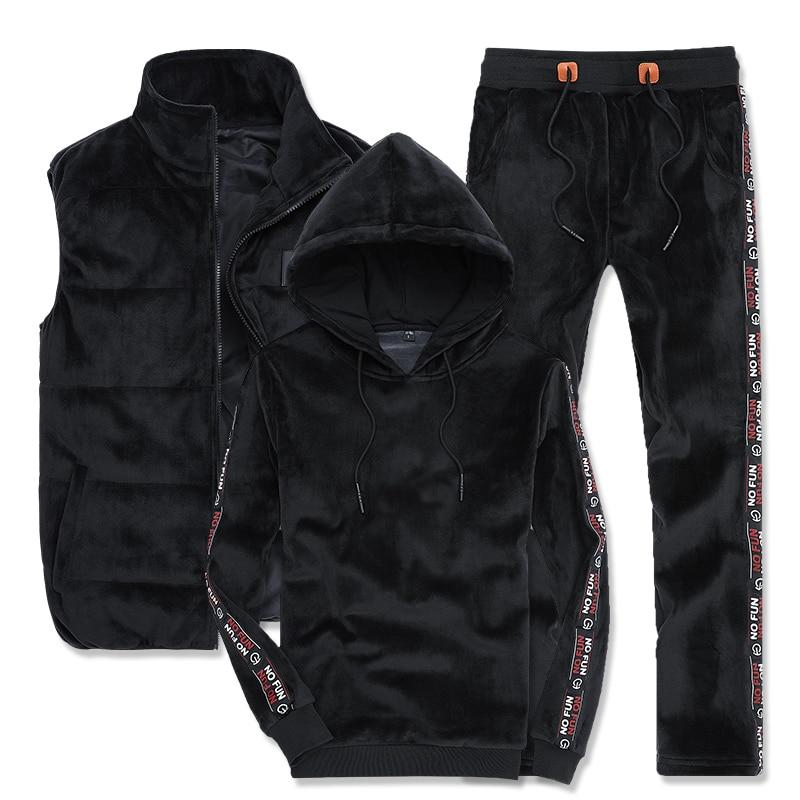 3 Piece Set For Men Sportswear Autumn Winter Men Sports Suit Side Stripe Letter Hoodies Pant Vest Gold Velvet Male Tracksuit