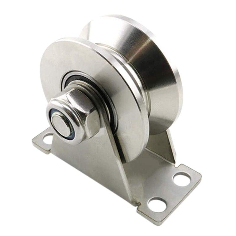 HOT 1Pack U-Type Stainless Steel Pulley Block Mute Bearings Groove Sliding Roller Track Wheel