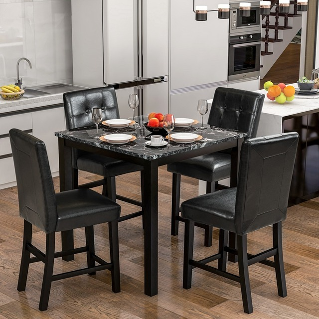 5 Piece Dining Room Set with Laminated Faux Marble Top 1