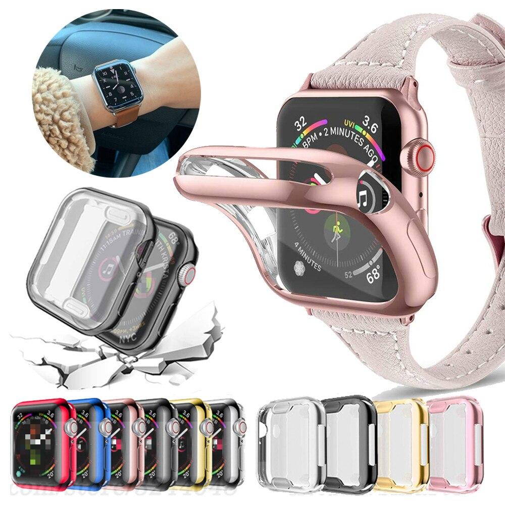 Tpu fino relógio capa para apple assistir série 5 4 3 2 1 caso 42mm 38m 40mm 44mm caso protetor capa para iwatch 4 44mm