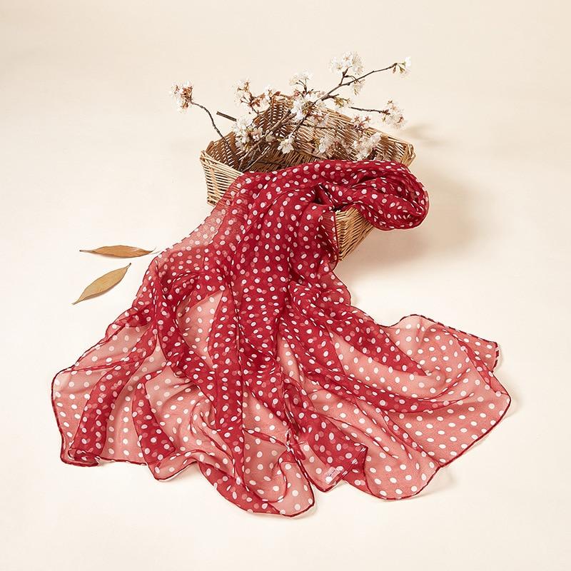 Spring Printed Polka Dot Scarf Female Headscarf Thin Section Soft Light Sunscreen Long Silk Scarf Wraps Women 2020 Summer Cool