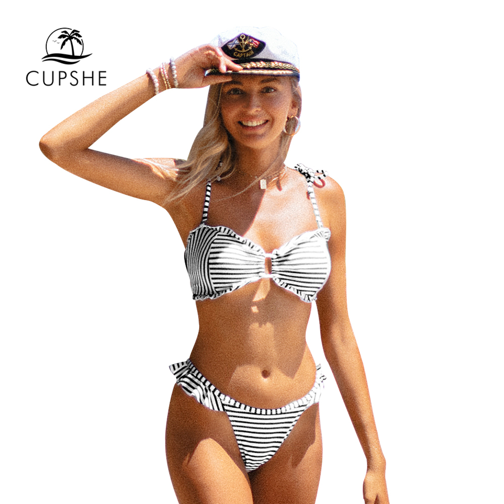 CUPSHE Nautical Blue Striped Ruffled Thong Bikini Sets Sexy Cut Out Swimsuit Two Pieces Swimwear Women 2020 Beach Bathing Suits 2
