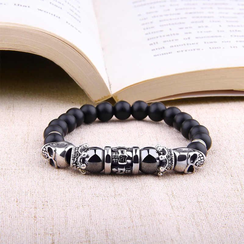 Mannen Armband Fashion Design Dubbele Zilveren Schedels Charm Armbanden Mannen Sieraden Accessoire Black Onyx Natuurlijke Hematiet Kralen Bangle