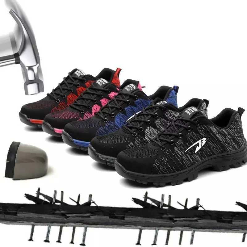 XZMDH חיצוני גברים ונשים בטיחות מגפי גברים לנשימה נעלי פלדת הבוהן לנקב הוכחה עובדים סניקרס נעלי אישה נעליים גברים