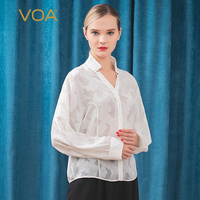 VOA silk perspective jacquard stand neck, Raglan bat long sleeve, single row, one piece, Y shaped loose thin shirt B9261