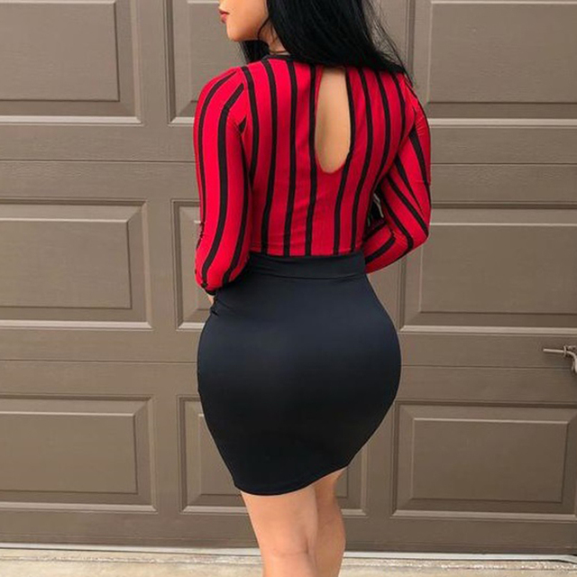Women Sexy Mini Dress Hollow Out Backless O Neck Bag Hip Slim Bodycon Party Dress Spring 2021 Fashion Striped Stitching Dresses 3
