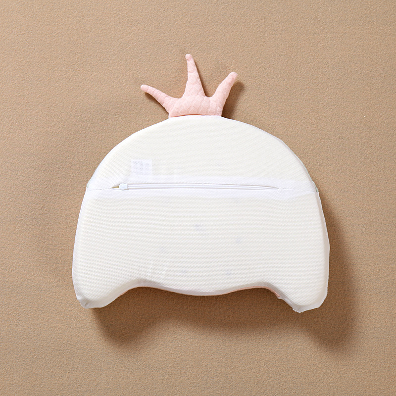 Crown Anti Flat Head Baby Girl Pillow Newborn Memory Foam Infant Baby Head Cushion Support Anti Roll Shaping Pillow for Baby