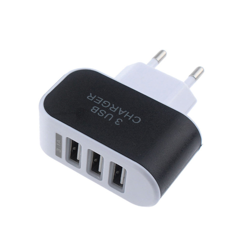 Fashion 3.1A Triple 3 USB Port Wall Home Travel AC Charger Adapter For Samsung For Apple EU/US Plug dropshipping image