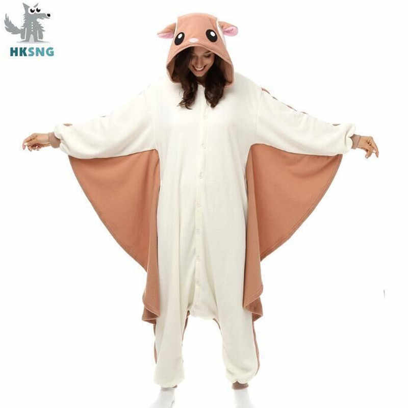 Hksng Animal Adult Kigurumi Vliegende Eekhoorn Onesies Party Halloween Mouse Pyjama Cosplay Chipmuck Kostuums Nachtkleding Jumpsuit