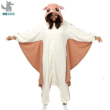 HKSNG 동물 성인 Kigurumi 비행 다람쥐 Onesies 파티 할로윈 마우스 잠옷 코스프레 Chipmuck 의상 잠옷 점프 슈트