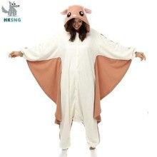 HKSNG zwierząt dorosłych Kigurumi latająca wiewiórka Onesies Party Halloween mysz piżamy Cosplay Chipmuck kostiumy bielizna nocna kombinezon