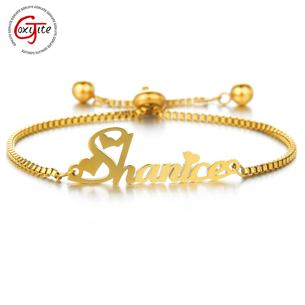 Goxijite Customized Name Bracelet Women Kids Stainless Steel Adjustable Stretch Arabic Letter Bracelets Gifts
