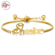 Goxijite-pulsera de acero inoxidable con nombre personalizado para mujer y niño, brazalete ajustable con letras árabe elásticas