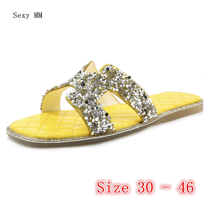 Summer Shoes Women Flat Sandals Slides Woman Shoes Flip Flops Slippers Sandals Small Plus Size 30 31 32 33 -40 41 42 43 44 45 46
