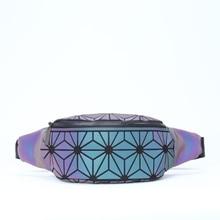 Waist-Bag Bum Geometric-Pack Iridescent Holographic Travelling Women Wallet Purse Luminous-Belt