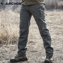 S ARCHON IX8 Tactical Workout Cargo spodnie męskie SWAT Army Combat spodnie wojskowe Casual Cotton wiele kieszeni spodnie rozciągliwe męskie tanie tanio Cargo pants CN (pochodzenie) Mieszkanie Kieszenie REGULAR 29 - 40 Pełnej długości W stylu Safari Midweight Suknem Zipper fly