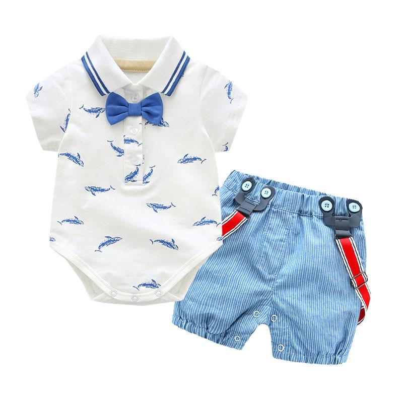 Newborn Baby Boy Clothes Summer Bow 100% Cotton Set Boy Romper Print T-shirt Overalls +Blue Shorts Outfits