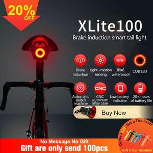 Bicycle Flashlight xlite100 Bike Rear Light Auto Start/Stop Brake Sensing IPX6 Waterproof LED Charging Cycling Taillight(China)