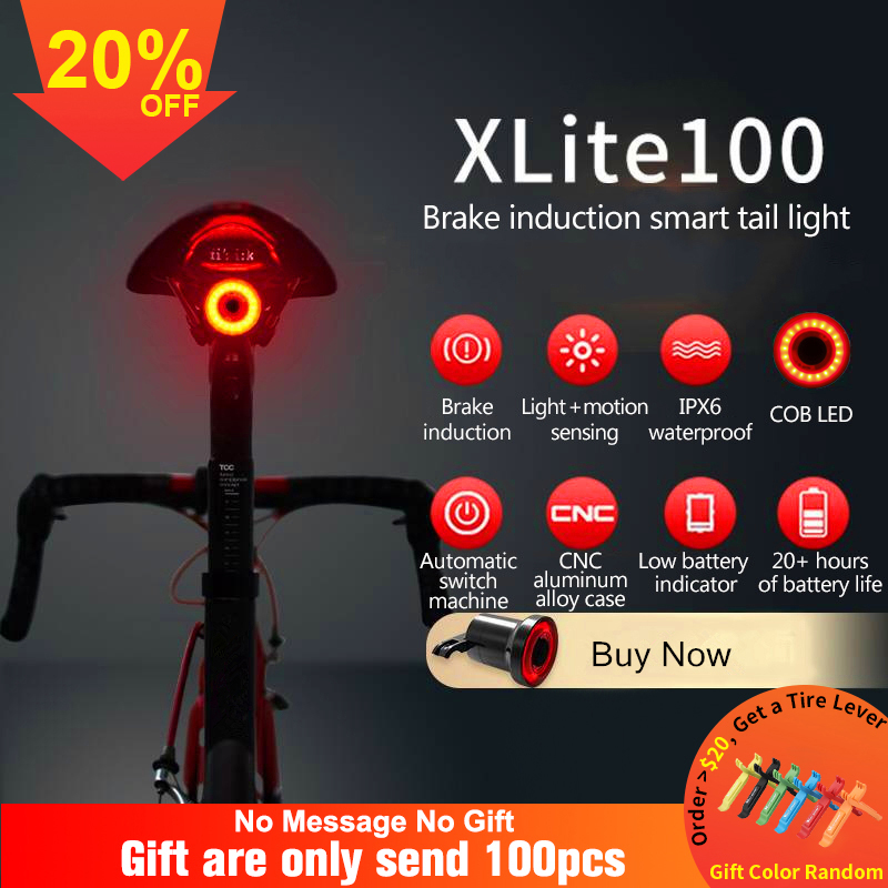 Bicycle-Flashlight Bike Sensing Led-Charging XLITE100 Ipx6 Waterproof Auto-Start/stop-Brake title=