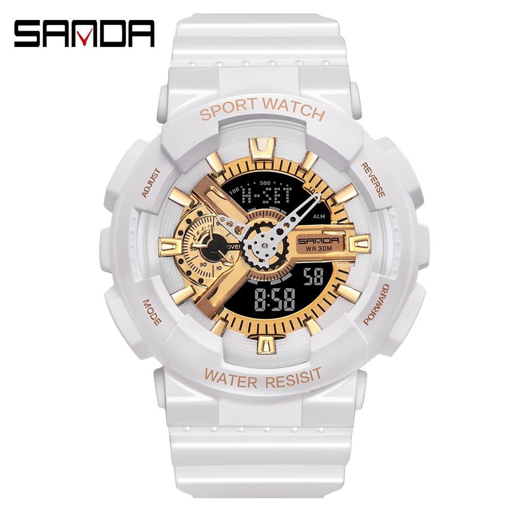 SANDA Brand Wrist Watch Men Watches Military Army G Style Sport  Wristwatch Dual Display Male Watch For Couples Clock Waterproof