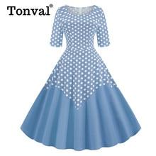 Tonval Twee Tone Katoen Half Mouw EEN Lijn Midi Polka Dot Vintage Jurk Pinup Vrouwen Lente Zomer O hals Casual Swing jurken