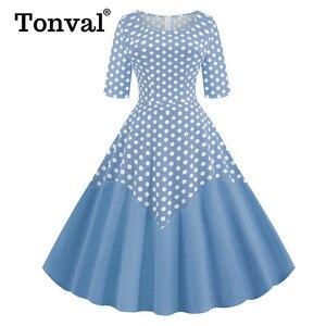 Image 1 - Tonval Two Tone Cotton Half Sleeve A Line Midi Polka Dot Vintage Dress Pinup Women Spring Summer O Neck Casual Swing Dresses