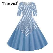 Tonval vestido de algodón de dos tonos, Media manga, Midi, de lunares, Vintage, primavera verano, cuello redondo, informal