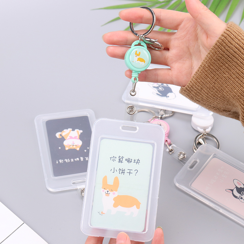 1PC Telescopic Transparent Keychain Double Card Sleeve Sets ID Badge Case Clear Bank Credit Card Badge Holder Accessories