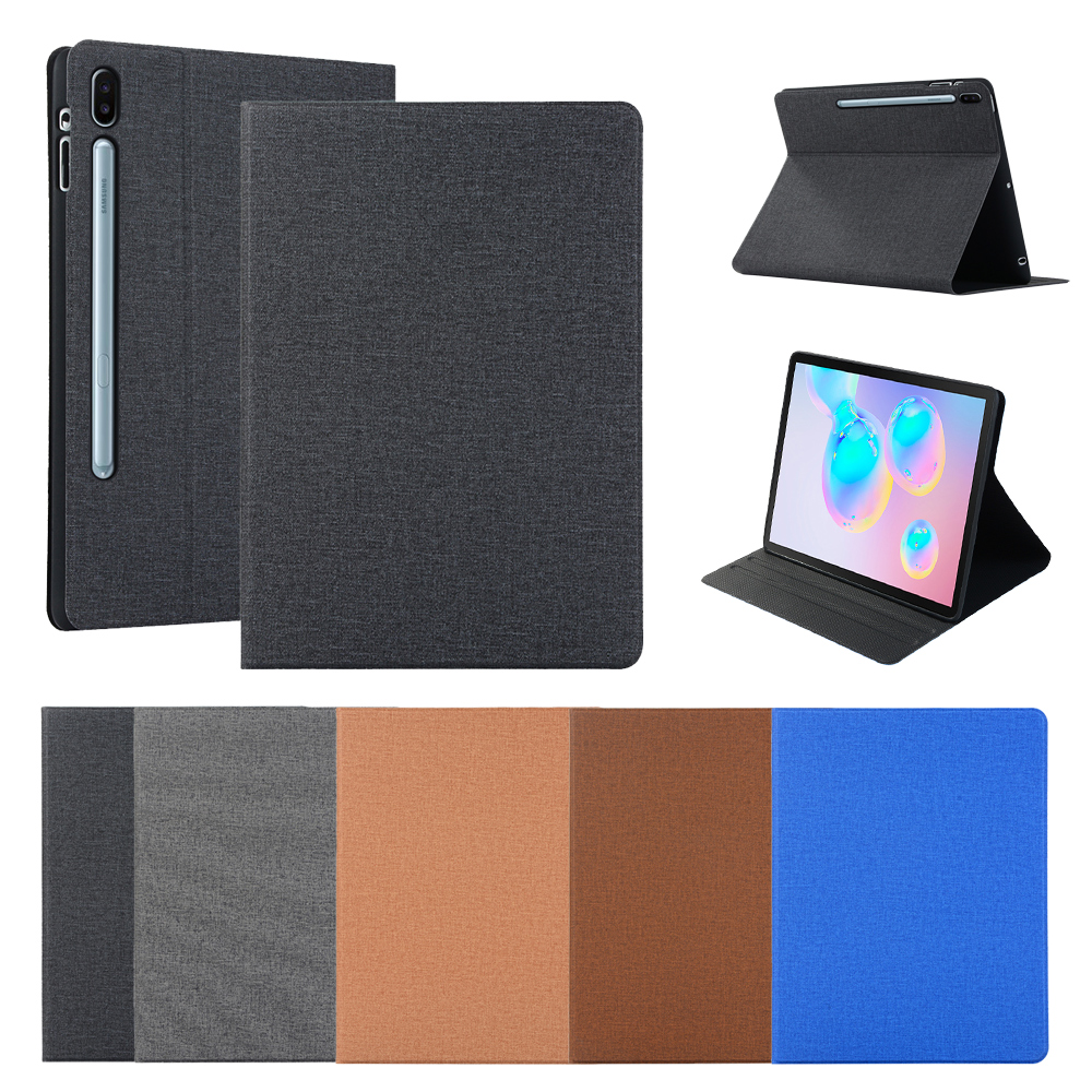 For Samsung Galaxy Tab S6 10.5 Inch SM-T860 T865 T867 Tablet Case PU+TPU Flip Stand Linen Tablet Leather Case Protective Cover image