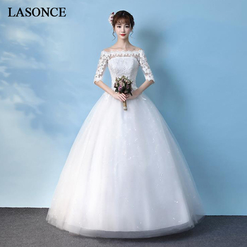 LASONCE Sequined Boat Neck Lace Appliques Ball Gown Wedding Dresses Illusion Half Sleeve Backless Bridal Gowns